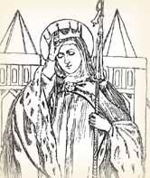 Rycina przedstawiająca św. Baltyldę