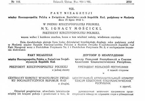 Skan dokumentu: pakt o nieagresji