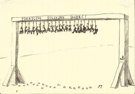 """Wrony wiszące na wspólnej szubienicy i napis """"Zdrajcom ojczyzny śmierć"""""""