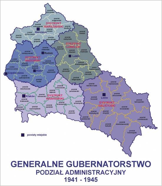 Mapa przedstawiająca podział administracyjny Generalnego Gubernatorstwa