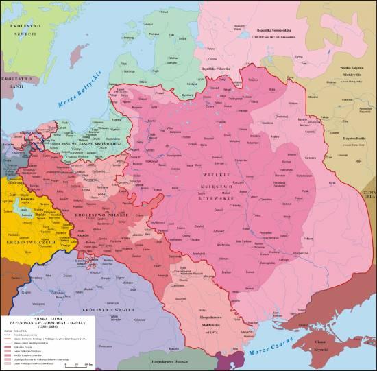 Unia w Horodle mapa Władysław Jagiełło