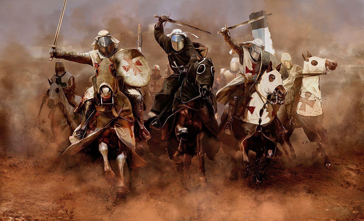 Caballeros templarios atacando en Tierra Santa