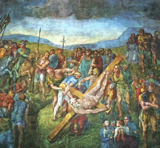 Znajdujący się w Capella Paolina fresk 'Ukrzyżowanie św. Piotra' autorstwa Michała Anioła