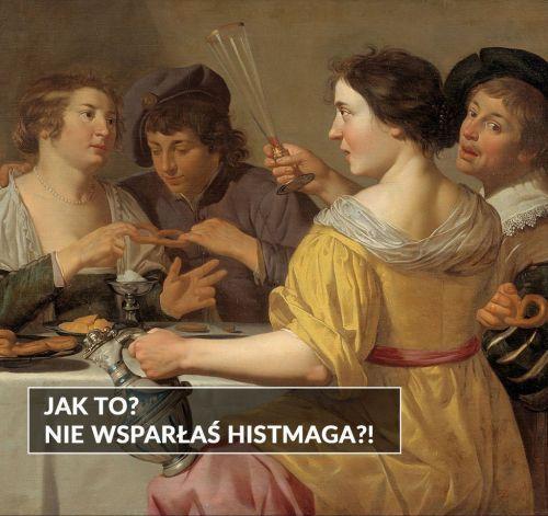 """Jana van Bijlert """"Zabawa z preclem"""" obraz mem zbiórka Histmag.org"""