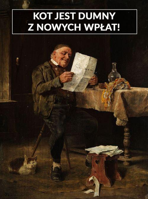 """Felix Schlesinger """"Czytający gazetę"""" obraz mem zbiórka Histmaga"""